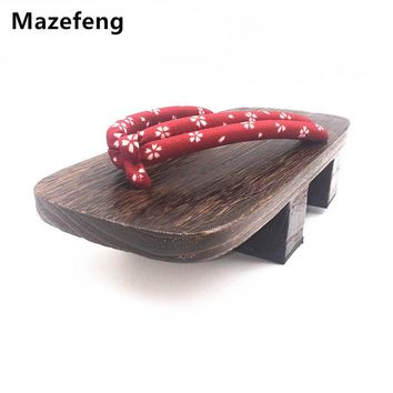 Mazefeng New Summer Shoes Print Heel Flip-flops Men sandals Japanese Geta Clogs Wooden Men Slippers cosplay shoes Men Geta Clogs
