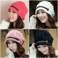 Fashion Autumn Winter Wool Knitted Cotton Hat Women Winter Hats Girls Caps Beanies Lady Head Wear Accessories Cap