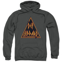DEF LEPPARD/DISTRESSED LOGO-ADULT PULL-OVER HOODIE-CHARCOAL