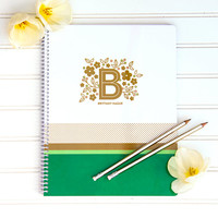 PERSONALIZED Floral Monogram Spiral Notebook