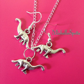 Dinosaur Earrings Dinosaur Charm Bracelet Dinosaur Necklace Set Dino Long Neck Dinosaurs Brachiosaurus Apatosaurus Jewelry