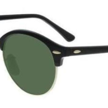 RAY BAN 4246 51 901 CLUBROUND SUNGLASSES SOLE BLACK EYEGLASSES G15 GREEN