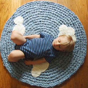 $140.00 Crochet Rug Upcycled Cotton with Crochet Clouds Blue by KingSoleil