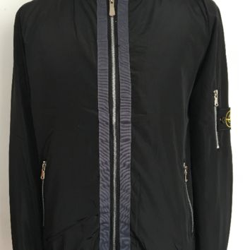 Discount stone island men's fashion clothes black casual trench coat