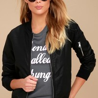 Until All Hours Black Vegan Leather Bomber Jacket
