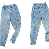 80s High Waist Blue Jeans Acid Wash BUTTON FLY Worn In Denim Tapered Leg Mom Jeans Vintage 1980s Hipster Grunge Preppy Pin Striped Jeans XS