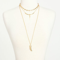 GOLD LAYERED HORN NECKLACE