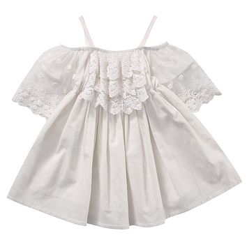 2017 Summer Toddler Kids Baby Girls Off shoulder White Lace Dress Princess Girl Party Dresses Children Clothes One Pieces 2-7Y