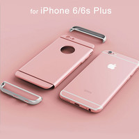 Luxury Metallic Hard PC Phone Case for Apple iPhone 7 Plus 6 6s Plus Full Body Detachable Cover Circle Logo capinhas Accessories