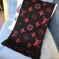 DCCKRQ5 Authentic Louis Vuitton LOGOMANIA Rainbow Scarf Black
