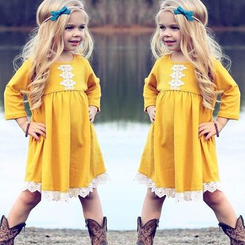 Warm in autumn and winter Toddler Baby Girls Fashion Cotton Blend Long Sleeves O-Neck Solid Lace Kids Clothing Princess Dress#30