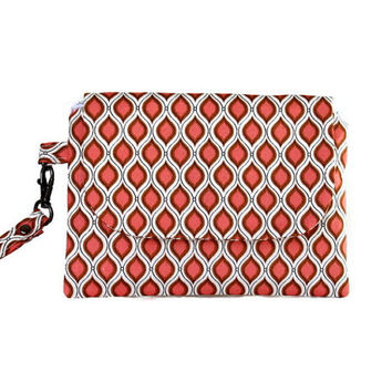 Wristlet in Melon Ogee Pattern, Stylish Orange and White Wrist Wallet, Zippered Pouch and Wallet, Small Hand Bag