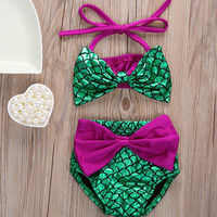 2pcs Baby Swim Set Mermaid Baby Girl Cute Sleeveless Bikini Set Halter Bowknot Swimwear Swimsuit Bathing Suit 0-24M