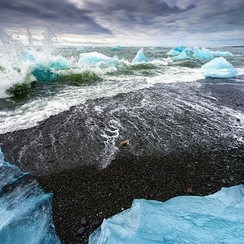 Iceberg Pieces In South Iceland