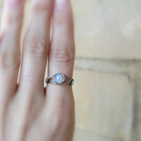 Opalite Moonstone Ring ( Opalite Ring, Wire wrapped ring, Bohemian jewellery, Boho ring, Iridescent ring, stainless steel ring elvish ring )