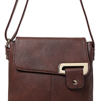 Double Compartment Cross Body Bag in Brown