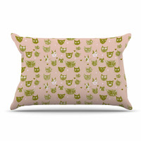"""Marianna Tankelevich """"Vintage Cats"""" Pink Pattern Pillow Case"""