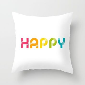 HAPPY Throw Pillow by lemonbox