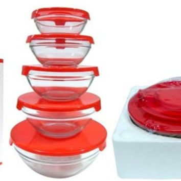 5 pc. glass container with red lids Case of 12