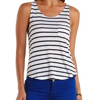 Black/White Striped High-Low Pocket Tank Top by Charlotte Russe