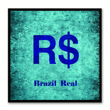 Brazil Real Money Currency Aqua Canvas Print with Black Picture Frame Home Decor Wall Art Collection Gifts