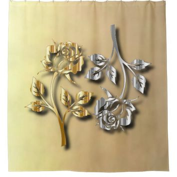 Two Golden And Silver Roses With Shadows Shower Curtain