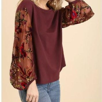 Floral Velvet Sleeve Top