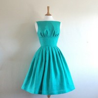 Turquoise Linen Tiffany Prom Dress made to by digforvictory