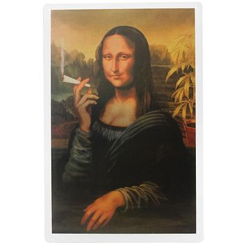 Mona Lisa Smoking Marijuana weed Tin Plates Signs wall man cave Decoration bar Art retro vintage Poster metal