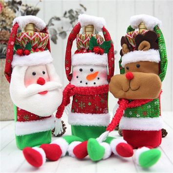 Christmas Red Wine Bottle Covers Bags Dinner Party Table Decorations for Home Santa Claus Snowman Reindeer New Year Navidad Gift