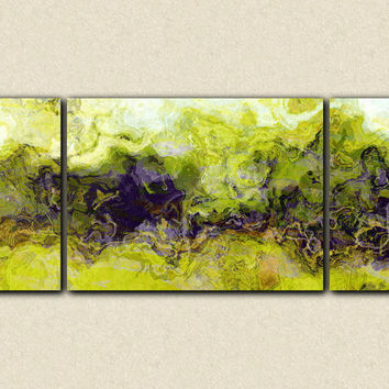 "Triptych very large abstract canvas print, 30x72 giclee with gallery wrap in earth tones, from abstract painting ""Green Mountain"""