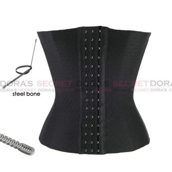 2015 New sexy body women black/beige/blue steel underbust waist trainer corset clothing set bustier crop top(M/L/XL/XXL/XXXL) = 1930356868