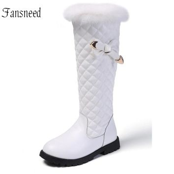 Children Winter Snow Boots Girls Over-knee High Fashion Boots Natural Rabbit Fur Round Butterfly-knot Princess Boots