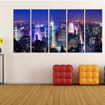 New york skyline wall art canvas print, times square canvas print wall decor, extra large wall art for home decor, No:3S96