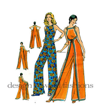 70s WRAP JUMPSUIT PATTERN Front or Back Wrapped Lounge Mod Hippie Jumpsuit Vogue 8335 Bust 36 UnCUT Women's Rare Vintage Sewing Patterns