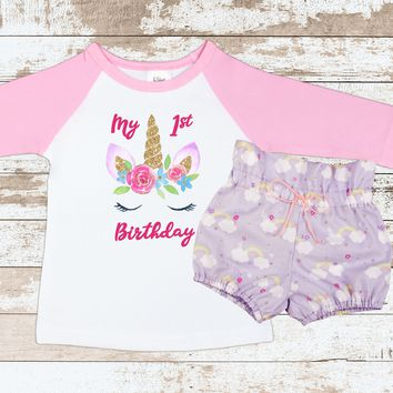 Unicorn Birthday Outfit | Purple Rainbow High Waisted Bloomers Outfit with Unicorn Face 3/4 Sleeve Pink Raglan Shirt