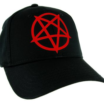Red Inverted Pentagram Hat Baseball Cap Black Metal Occult