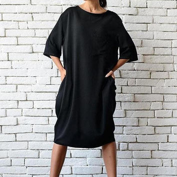SALE Short Loose Black Dress/Plus Size Casual Tunic/Half Sleeve Oversize Top/Maxi Black Dress/Long Black Top/Black Maxi Dress/Everyday Dress