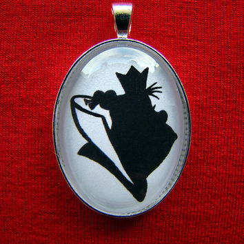 The Queen of Hearts from Alice in Wonderland Silhouette Cameo Pendant Necklace