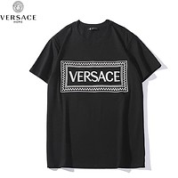 Versace Summer Fashion New Bust Embroidery Letter Women Men Top T-Shirt Black