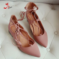 new arrival 2016 women leg cross lace-up single flat shoes lady pointed toe gold sole single shoes hot female stra shoes