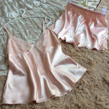 Ladies Sexy Spaghetti Strap Lace Hollow Out Shorts Sleepwear Home Set [8243840259]