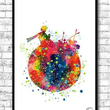 The Little Prince, Watercolor print, Le Petit Prince, Stars, French, Poster, Illustration, Nursery, Home Decor, Baby Shower, Gift, Wall art
