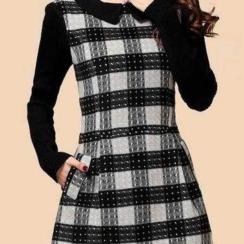 Black Long Sleeve Plaid Skater Dress