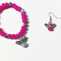 Bright Pink Angel Jewelry Set, Beaded Jewelry, Pink beads, Angels, sparkly, gift ideas, stocking stuffers, charm bracelets, princess jewelry