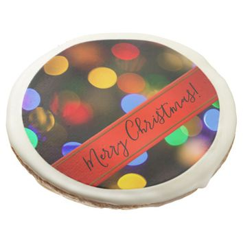 Multicolored Christmas lights. Add text or name. Sugar Cookie