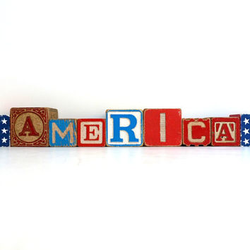 Red White & Blue Patriotic Alphabet Blocks - Letters - Words - Vintage Wooden Toys - American Flag - Stars and Stripes