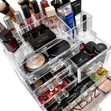 Sorbus® Acrylic Cosmetics Makeup and Jewelry Storage Case Display Sets –Interlocking Drawers to Create Your Own Specially Designed Makeup Counter –Stackable and Interchangeable