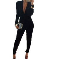 Black Sexy Long Sleeve Bodysuit Women Evening Club Wear Plunge V Neck One Piece Rompers Womens Jumpsuit Long Pants Overall 10