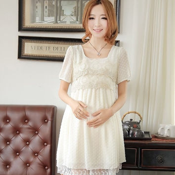 Summer New Fashion Korean  Women Dress Loose Lace Chiffon Maternity  Dress 3 colors = 1946572036